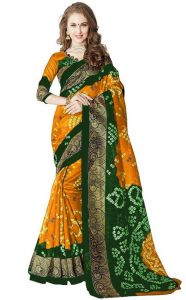 Sudarshan Silks Women's Clothing ,Women's Accessories ,Womens Footwear  - New Bandhani Style Bhagalpuri Saree-orange-ssc5007-vo-bhagalpuri