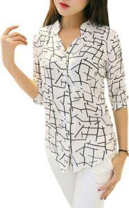 Shirts (Women's) - FabDiamond White Crepe Women Shirt (Wt-St-0)