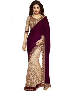 Bikaw Bollywood Replica Maroon And Golden Velvet Saree (202727)