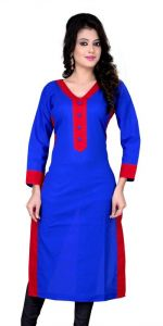 Pari Kurtis - Pari Fashion Blue Designer Fancy Cotton Kurtis- Krt2102-3