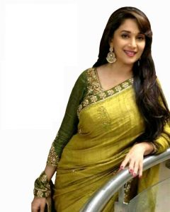 Adorn Fashion Bollywood Replica Madhuri Dixit Bhagalpuri Silk, Dhupian Olive Green Designer Saree
