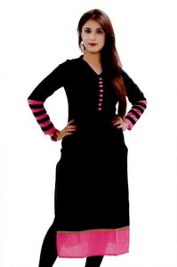 Designer Black And Pink Colored Styles Kurti