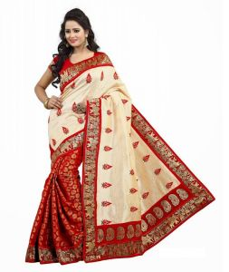 Sarees - Shri Swastik Fashion Red Color Embellished Cotton Partywear Saree(sf100810red)