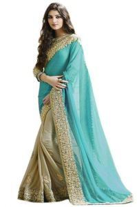 Fabpandora Women's Clothing - Fabpandora Sky Blue Color Georgette Saree - Gss1255