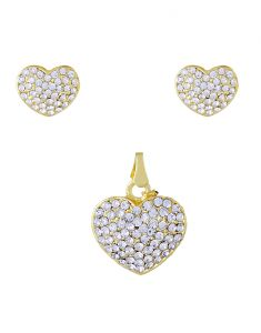 Pendants - Heart Shape CZ Stones Studded Pendant Set - 3S0015