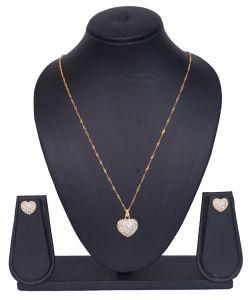 Fashion, Imitation Jewellery - Heart Shape CZ Stones Studded Pendant Set - 3S0015