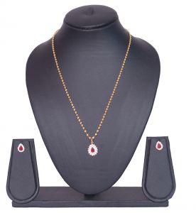 Pendants (Imitation) - Gold Plated Ruby Color Stone Pendant Set- 3S0012