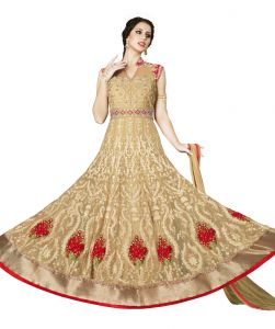 Women's Clothing ,Women's Accessories ,Womens Footwear  - Stylee Lifestyle Beige Embroidered Anarkali Suits 1029