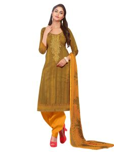 Dress Materials - Stylee Lifestyle Yellow Embroidered Dress Material 1038