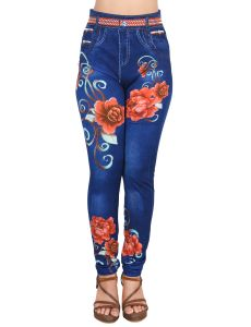 Ziva Fashion Girls/womens Blue Poly Cotton Floral Printed Leggings/jeggings ( Code - J10 )