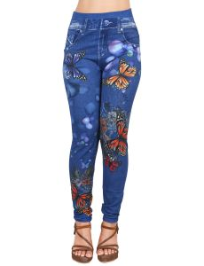Ziva Fashion Girls/womens Blue Poly Cotton Ankle Length Printed Leggings/jeggings ( Code - J11 )