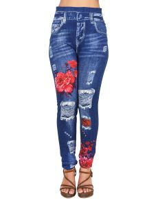 Ziva Fashion Girls/womens Blue Poly Cotton Slim Fit Printed Leggings/jeggings ( Code - J12 )
