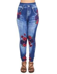 Ziva Fashion Girls/womens Blue Poly Cotton Printed Slim Fit Ankle Length Leggings/jeggings ( Code - J2 )