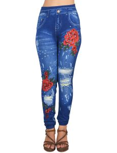 Ziva Fashion Girls/womens Blue Poly Cotton Printed Printed Slim Fit Leggings/jeggings ( Code - J3 )