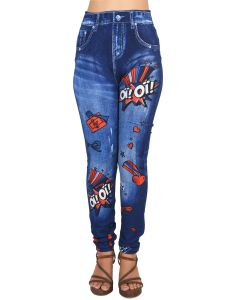 Ziva Fashion Girls/womens Blue Poly Cotton Printed Slim Fit Pull On Leggings/jeggings ( Code - J5 )