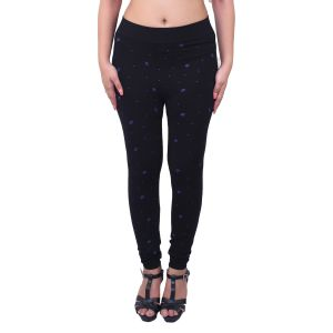 Ziva Fashion Black Printed Free Size Jeggings - ( J6003-fr )