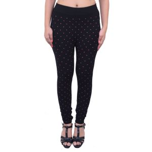 Ziva Fashion Black Heart Free Size Jeggings - ( J6005-fr )