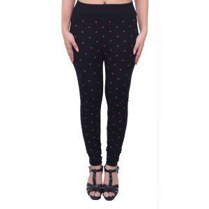 Ziva Fashion Black Doodle Print Free Size Jeggings - ( J6008-fr )
