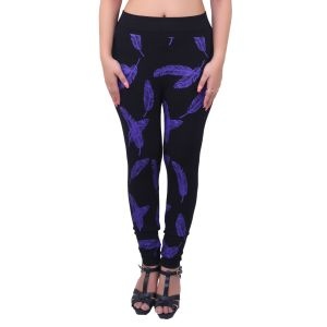 Ziva Fashion Black Feather Print Free Size Jeggings - ( J68-fr )