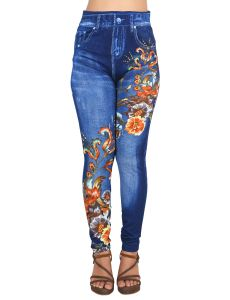 Ziva Fashion Girls/womens Blue Poly Cotton Printed Slim Fit Slip On Leggings/jeggings ( Code - J6 )