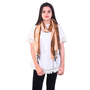 Ziva Fashion Womens Free Size Orange Striped And Printed Woollen Stole ( Code - Sh16 )
