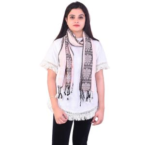Ziva Fashion Womens Free Size Light Pink Striped And Printed Woollen Stole ( Code - Sh17 )