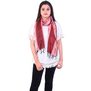 Ziva Fashion Womens Free Size Striped And Printed Red Woollen Stole ( Code - Sh18 )