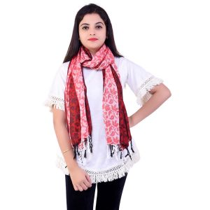 Ziva Fashion Womens Free Size Red Striped And Printed Woollen Stole ( Code - Sh34 )