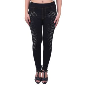 Ziva Fashion Black Denim Free Size Jeggings - ( Stone1-fr )