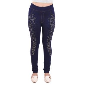 Ziva Fashion Blue Denim Studded Free Size Jeggings (code - Stone3-fr)