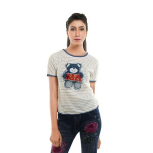 Ziva Fashion Women's White T-shirt With Patchwork  - T72