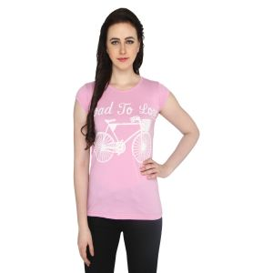 P-nut Womens Printed Pink Cotton T-shirt(code-basic_12_a)
