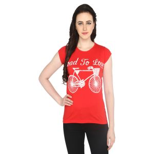 P-nut Womens Printed Red Cotton T-shirt(code-basic_12_b)
