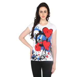 P-nut Womens White Printed Cotton T-shirt(code-basic_14_a)