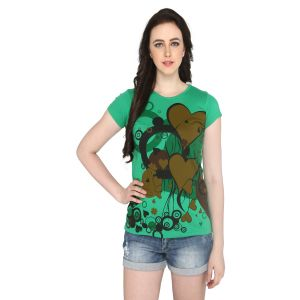 P-nut Womens Green Printed Cotton T-shirt(code-basic_14_e)