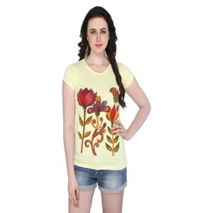 P-nut Womens Yellow Floral Printed Cotton T-shirt(code-basic_16_a)