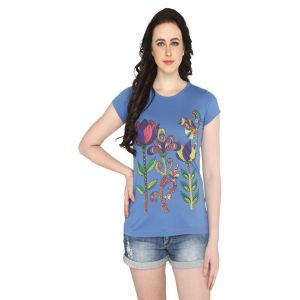 P-nut Womens Blue Floral Printed Cotton T-shirt(code-basic_16_b)