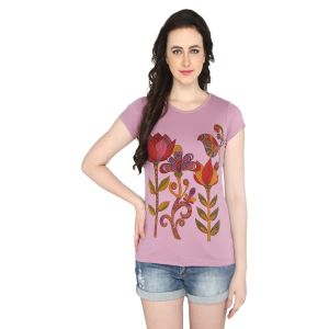 P-nut Womens Pink Floral Printed Cotton T-shirt(code-basic_16_c)