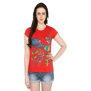 P-nut Womens Red Floral Printed Cotton T-shirt(code-basic_16_d)