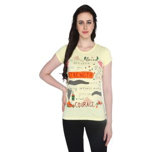 P-nut Womens Yellow Cotton Regular Fit T-shirt(code-basic_17_a)