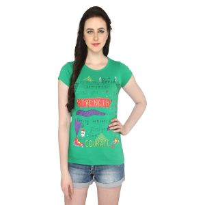 P-nut Womens Green Cotton Regular Fit T-shirt(code-basic_17_c)