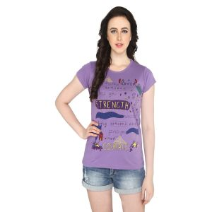 P-nut Womens Purple Cotton Regular Fit T-shirt(code-basic_17_d)