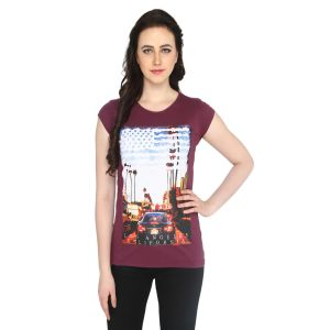 P-nut Womens Brown Cotton Printed T-shirt(code-basic_18_a)