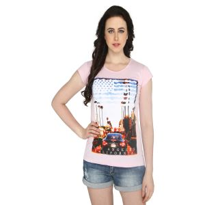 P-nut Womens Pink Cotton Printed T-shirt(code-basic_18_d)