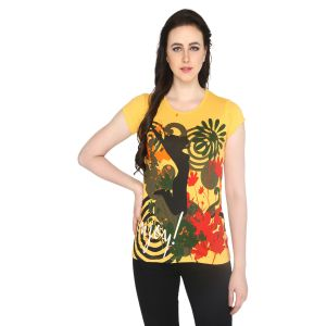 P-nut Womens Yellow Cotton Printed T-shirt(code-basic_20_a)