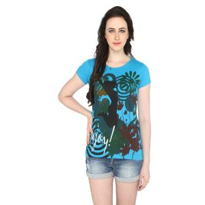 P-nut Womens Blue Cotton Printed T-shirt(code-basic_20_b)