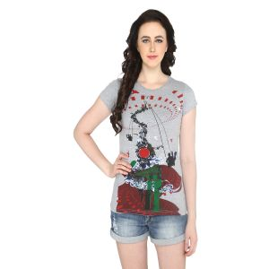 P-nut Womens Grey Printed Cotton T-shirt(code-basic_4_a)