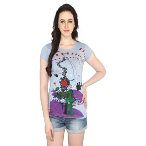 P-nut Womens Grey Printed Cotton T-shirt(code-basic_4_d)
