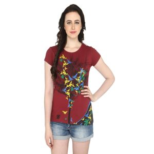 P-nut Womens Brown Printed Cotton T-shirt(code-basic_5_c)