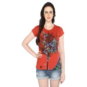P-nut Womens Orange Printed Cotton T-shirt(code-basic_5_d)
